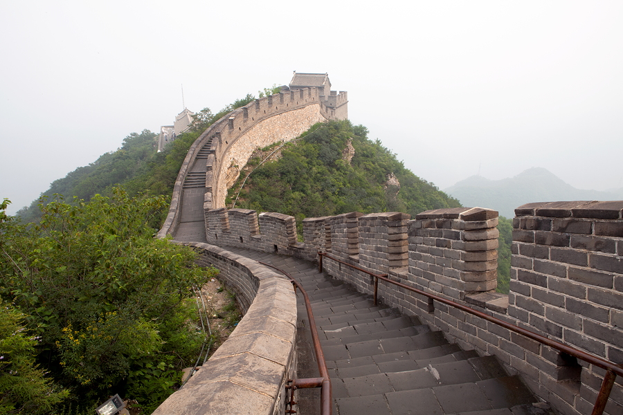 The Great Wall of China in the fog