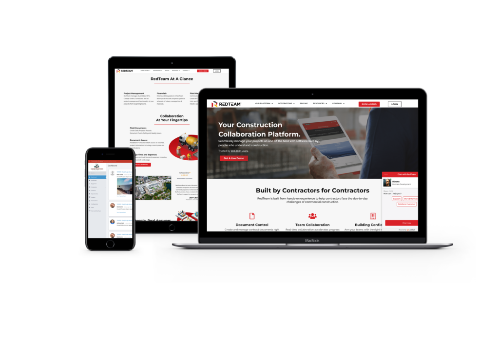 Mockup of RedTeam Construction Management Software on three devices
