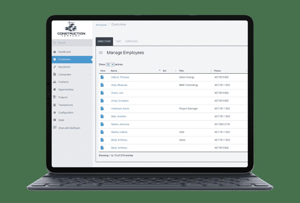 construction management software on tablet